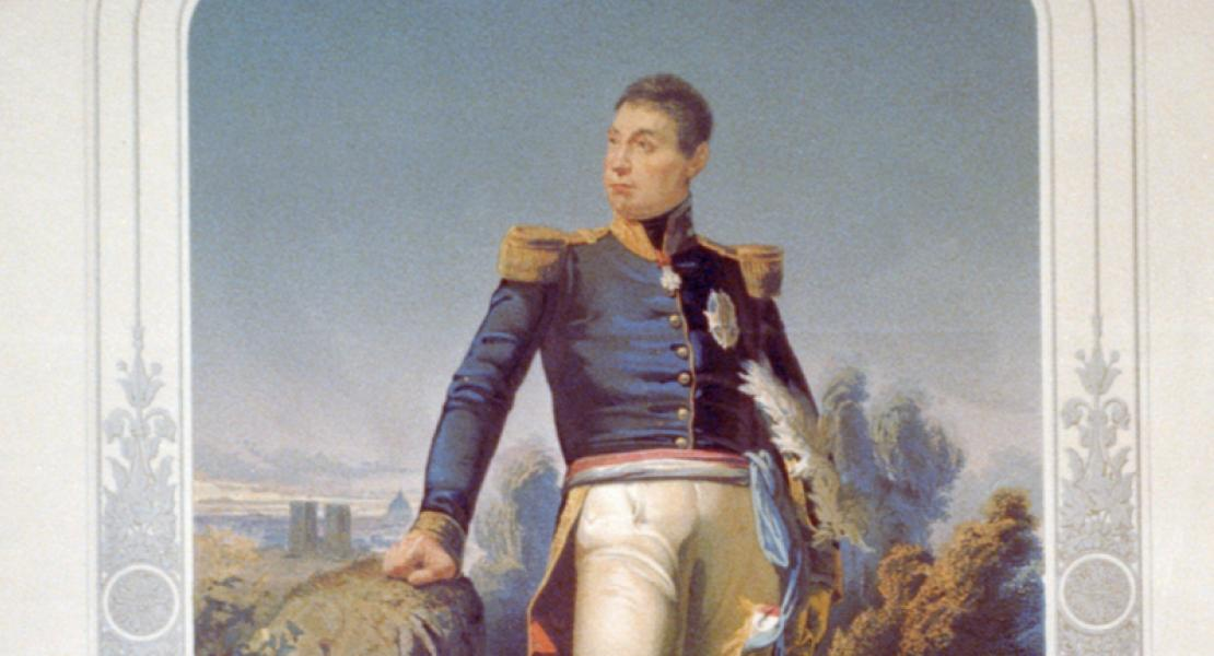print illustration of the Marquis de Lafayette