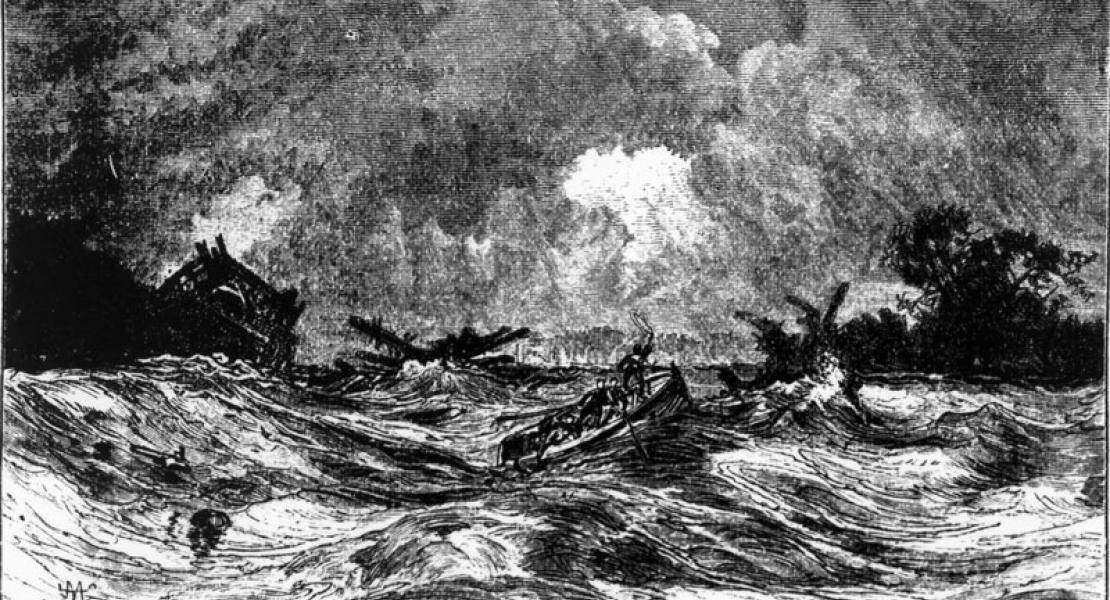 depiction of a boat on the Mississippi River during the New Madrid earthquakes