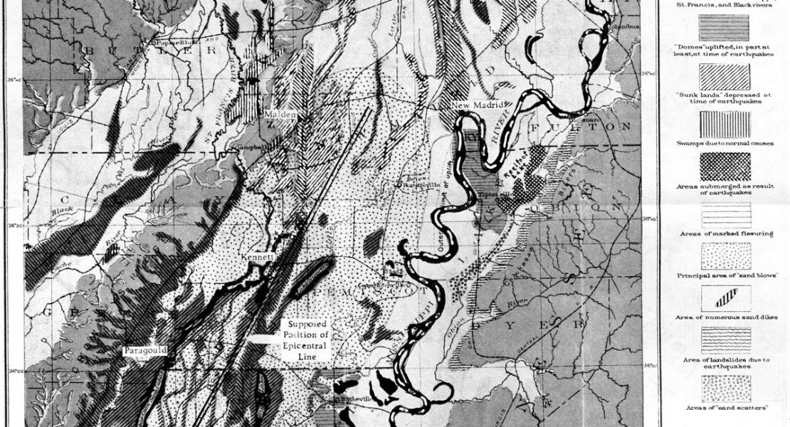 topographic features caused by the New Madrid earthquakes