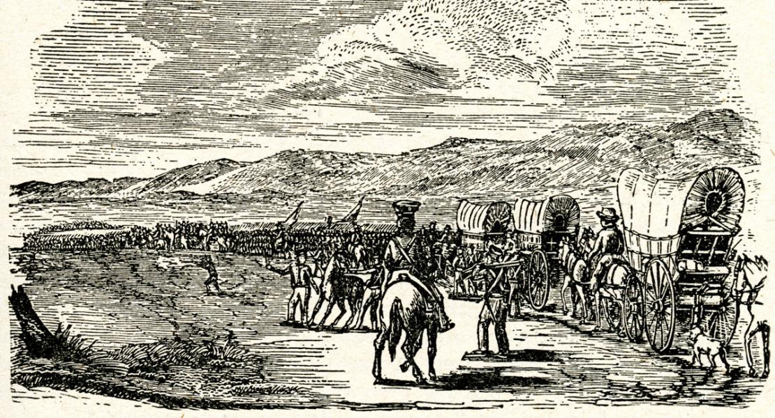 This illustration of the First Missouri Volunteers, first published in 1847, appeared in subsequent histories of their epic march into Mexico.