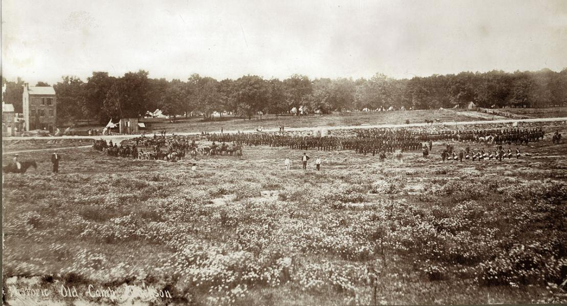Militia units drilling at Camp Jackson in May 1861.