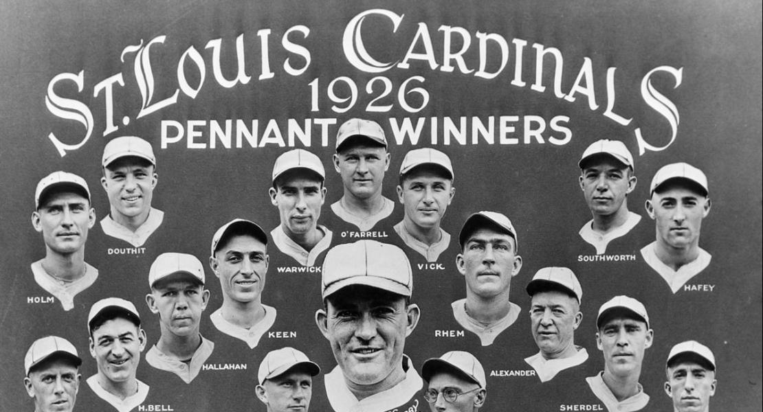 Hornsby (pictured at center) managed and played second base for the Cardinals' 1926 team, the franchise's first World Series champions.