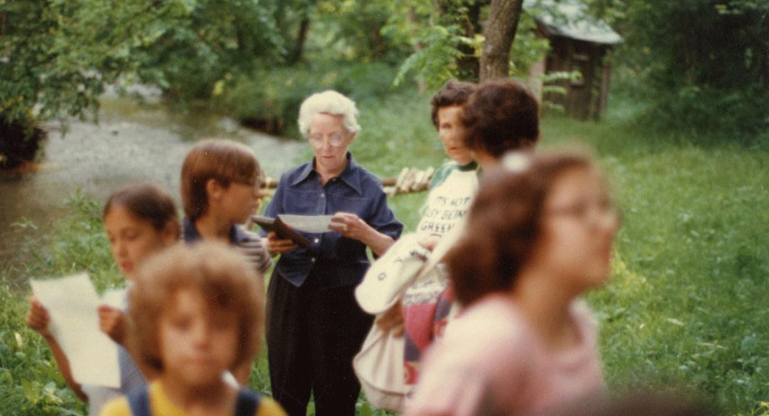 Dorothy Van Dyke Leake with visitors to her home on Crane Creek sometime in the 1980s.