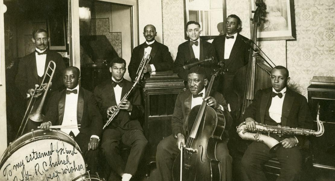 W. C. Handy (fourth from left, with trumpet) and band members, c. 1918. [University of Memphis Libraries, Special Collections Department, Robert R. Church Family Papers]