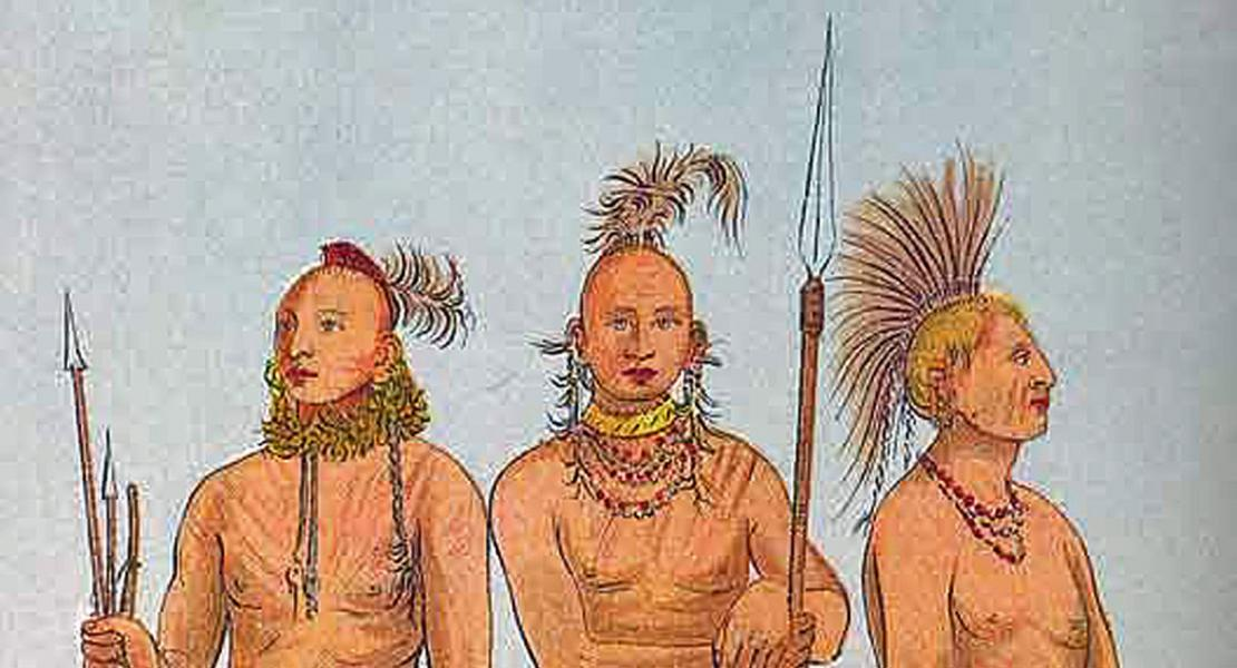 Three Osage men, by George Catlin. [State Historical Society of Missouri, Image Collection, 2003-0147]