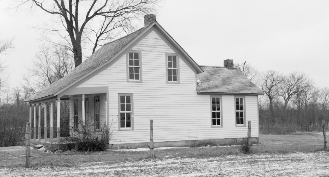 The Moses Carver house, now on the grounds of the George Washington Carver National Monument in Newton County, Missouri. [Library of Congress, Prints and Photographs Division, HABS MO,73-DIA.V,1—1]