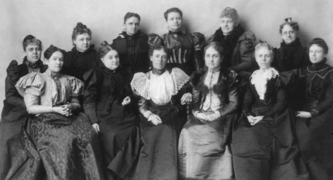 Officers of the Mothers' Congress, February 7, 1897, in Washington, DC. Phoebe Apperson Hearst is third from right in the front row. [Library of Congress, Prints and Photographs Division, LC-USZ62-4564]