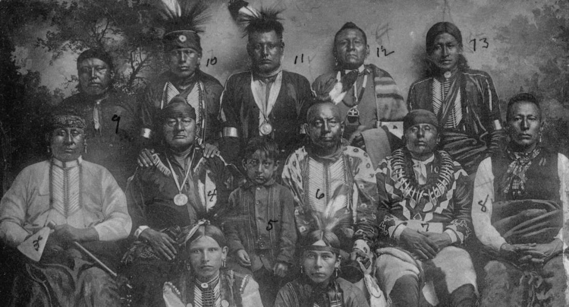 Osage chiefs and council, circa 1909. [Oklahoma Historical Society, W. P. Campbell Collection, #2079]