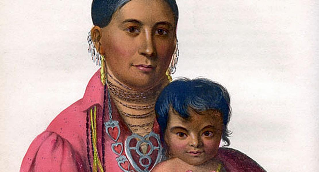 Mo-Hon-Go (Sacred Sun), an Osage woman, and her child. [State Historical Society of Missouri, Image Collection, 021180]