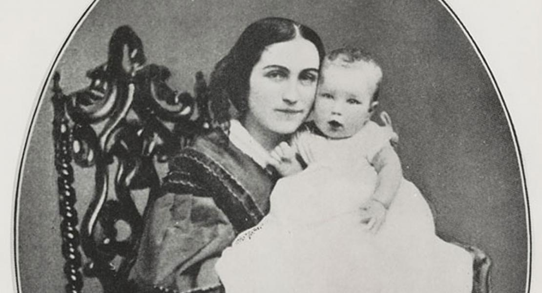 Phoebe Apperson Hearst with her son William Randolph Hearst. [University of California, Berkeley, Bancroft Library, William Randolph Hearst, Jr. Collection, BANC PIC 1991.064—AX]