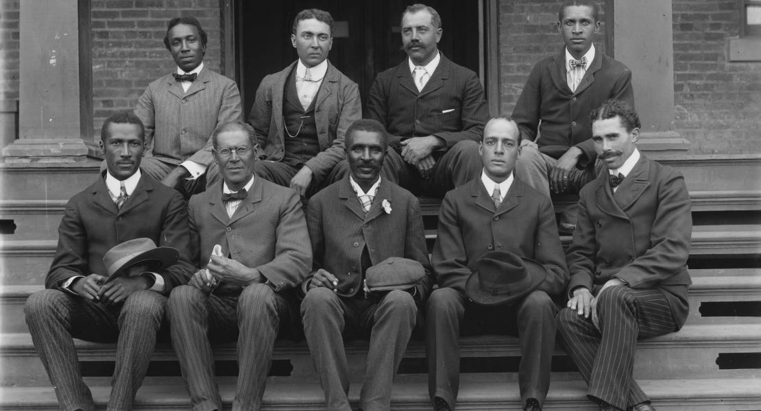 Carver (front row, center) with his Tuskegee colleagues. [Library of Congress, Prints and Photographs Division, LC-DIG-ppmsca-05633 DLC]