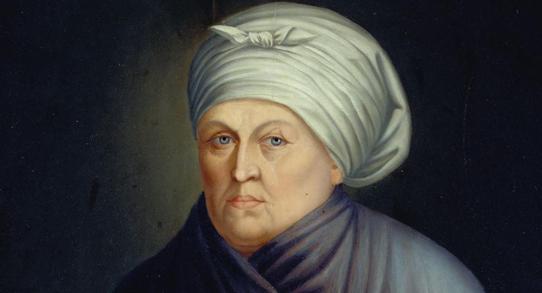 "Francois M. Guyol de Guiran created this portrait of Marie Therese Bourgeois Chouteau, the ""founding mother"" of St. Louis, in 1810. [Missouri Historical Society, St. Louis, MHS Objects Collection, 1950-084-0002]"