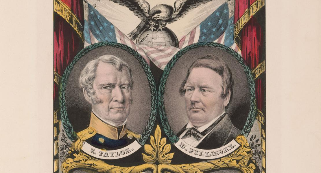 The Whig Party's national ticket in 1848 included presidential candidate Zachary Taylor and vice presidential candidate Millard Fillmore. [Library of Congress, Prints and Photographs Division, LC-DIG-pga-09004]
