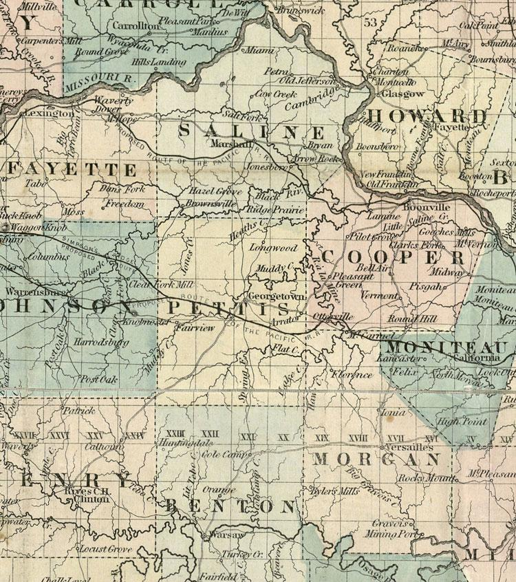 Detail of map of Missouri