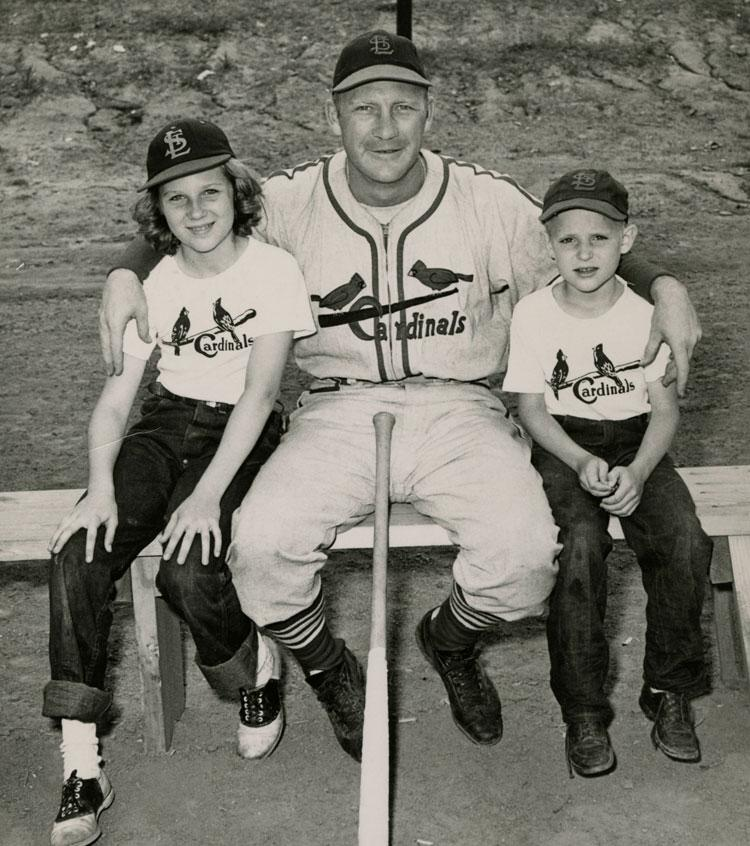 Cardinal Baseball Player George [Whitey] Kurowski with young fans